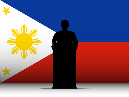 tribune: Vector - Philippines  Speech Tribune Silhouette with Flag Background