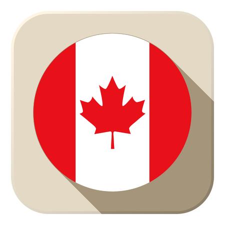canadian flag: Vector - Canada Flag Button Icon Modern