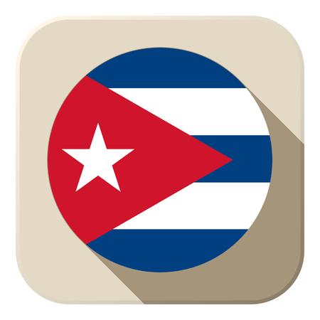 cuban: Vector - Cuba Flag Button Icon Modern