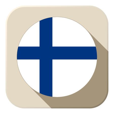Vector - Finland Flag Button Icon Modern Vector
