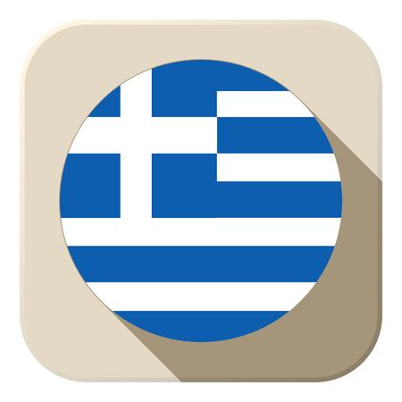 greek flag: Vector - Greece Flag Button Icon Modern
