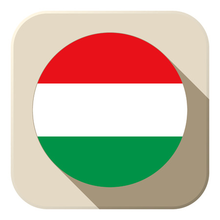Vector - Hungary Flag Button Icon Modern Vector