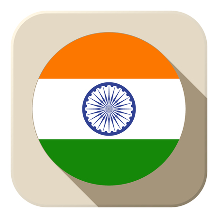Vector - India Flag Button Icon Modern Vector