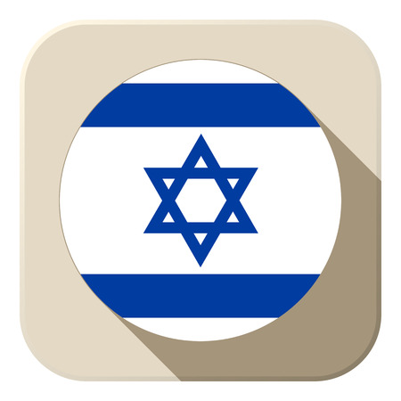Vector - Israel Flag Button Icon Modern Vector