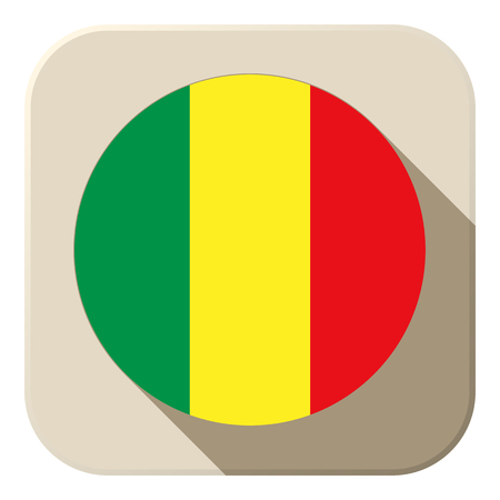Vector - Mali Flag Button Icon Modern Vector