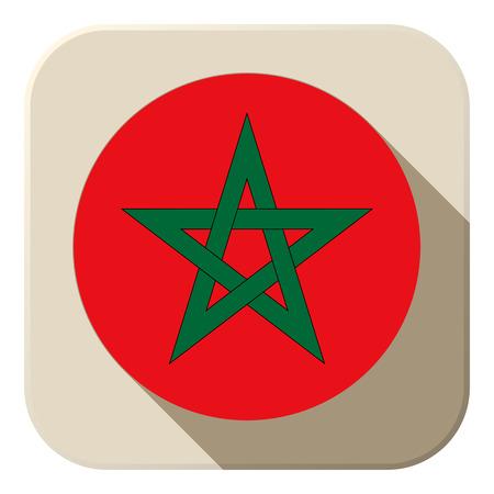 Vector - Morocco Flag Button Icon Modern Vector