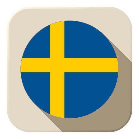 Vector - Sweden Flag Button Icon Modern Vector