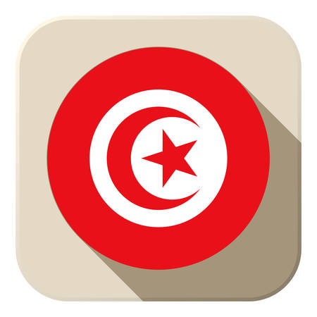 Vector - Tunisia Flag Button Icon Modern Vector