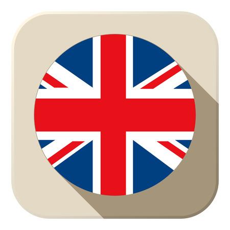 england flag: Vector - UK Flag Button Icon Modern Illustration