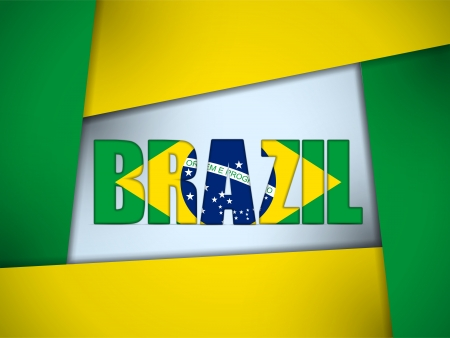Vector - Brazil 2014 Letters with Brazilian Flag