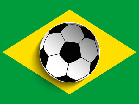 Vector - Brazil Flag with Soccer Ball  Vector