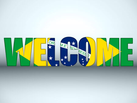 Vector - Brazil Flag Welcome Soccer Letters Background Vector