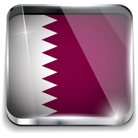 qatar: Vector - Qatar Flag Smartphone Application Square Buttons