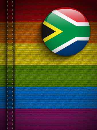 Vector - Gay Flag Button on Jeans Fabric Texture South Africa Vector