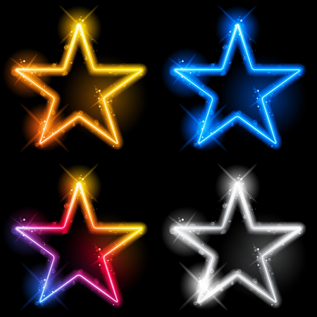 star border: Vector - Glowing Neon Stars Set of Four