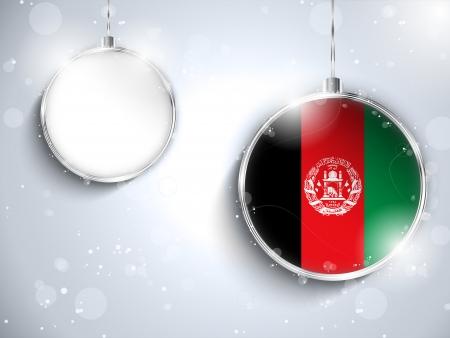 afghan: Vector - Merry Christmas Silver Ball with Flag Afghanistan Illustration