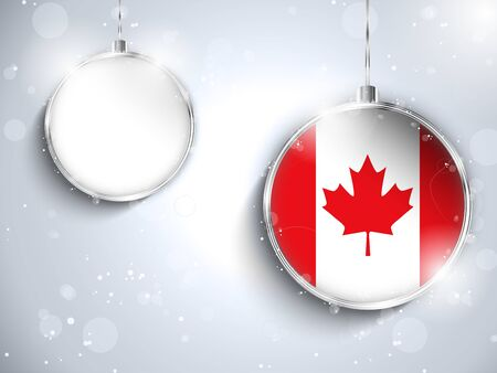 Vector - Merry Christmas Silver Ball with Flag Canada Stock Vector - 24509618