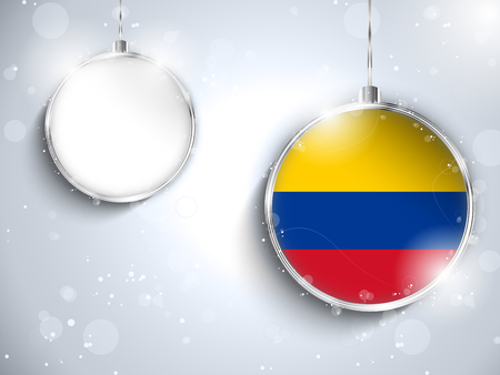 colombia flag: Vector - Merry Christmas Silver Ball with Flag Colombia