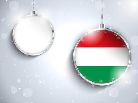 Vector - Merry Christmas Silver Ball with Flag Hungary Vector