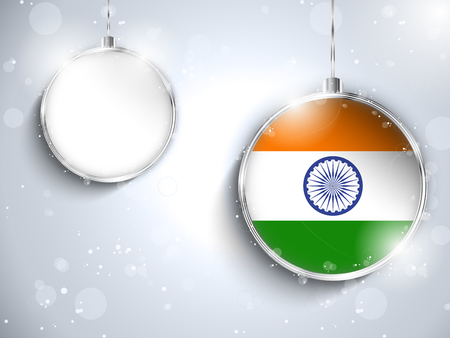 Vector - Merry Christmas Silver Ball with Flag India Vector