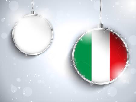 Vector - Merry Christmas Silver Ball with Flag Italy Vector