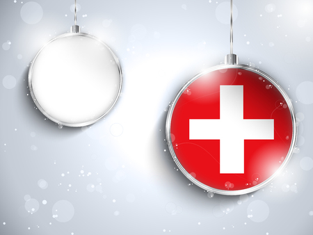 switzerland flag: Vector - Merry Christmas Silver Ball with Flag Switzerland