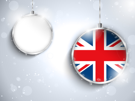 Vector - Merry Christmas Silver Ball with Flag United Kingdom UK Vector