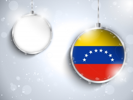 Vector - Merry Christmas Silver Ball with Flag Venezuela Vector