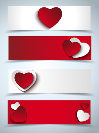 Vector - Valentines Day Set of Four Web Banners Vector