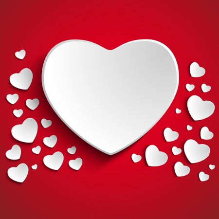 Vector - Valentine Day Heart on Red  Background