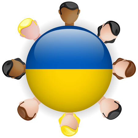 emblem of ukraine: Ukraine Flag Button Teamwork People Group