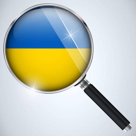 Ukraine flag in magnifying glass Vector