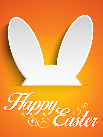 bunny ears: Vector - Happy Easter Rabbit Bunny on Orange Background Illustration
