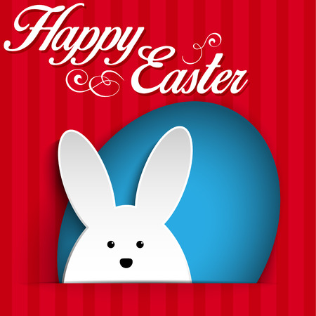 Vector - Happy Easter Rabbit Bunny on Red Background Vector
