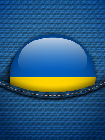 Vector - Ukraine Flag Button in Jeans Pocket Vector