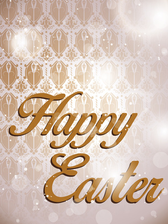 Vector - Happy Easter Retro Damask Background Vector