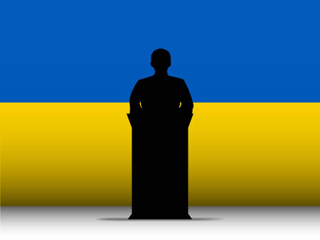 Vector - Ukraine  Speech Tribune Silhouette with Flag Background Vector