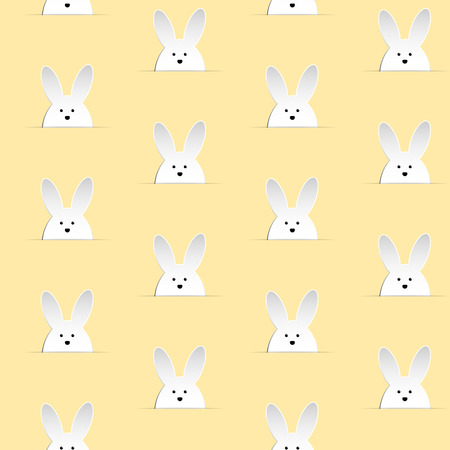 Vector - Happy Easter Rabbit Bunny Yellow Seamless Background Vector