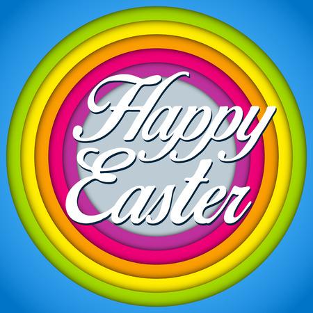Vector - Happy Easter Rabbit Bunny on Rainbow Background Vector