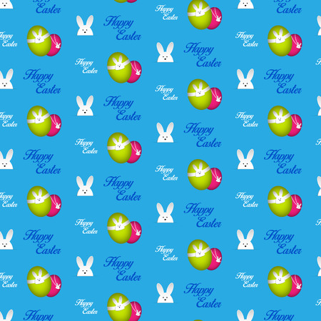 Vector - Happy Easter Rabbit Bunny Blue Seamless Background Vector