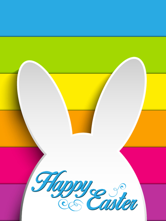 Vector - Happy Easter Rabbit Bunny on Rainbow Background Vector