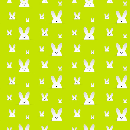 Vector - Happy Easter Rabbit Bunny Green Seamless Background Vector