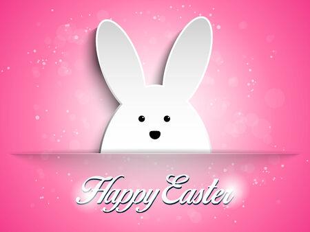 huevo caricatura: Vector - Feliz Pascua del conejo de conejito en fondo rosado