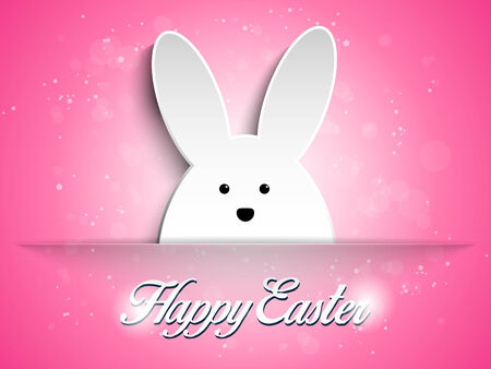 cartoon egg: Vector - Happy Easter Rabbit Bunny on Pink Background