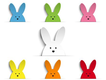 Vector - Happy Easter Rabbit Bunny Set Cartoon Illustration