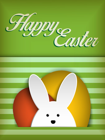 Vector - Happy Easter Rabbit Bunny on Green Background Vector