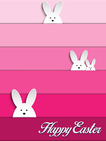 Vector - Happy Easter Rabbit Bunny on Pink Background Vector