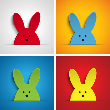Vector - Happy Easter Rabbit Bunny Set Cartoon Vector