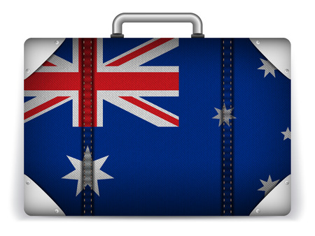 australian flag: Vector - Australia Travel Luggage with Flag for Vacation Illustration