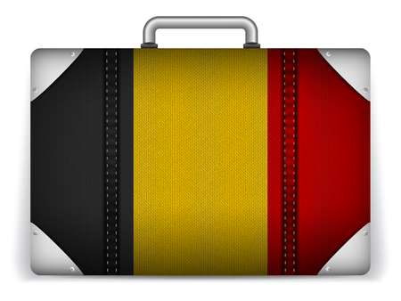 Vector - Belgium Travel Luggage with Flag for Vacation Vector